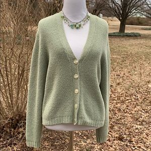 L L Bean sage green buttoned cardigan SMALL